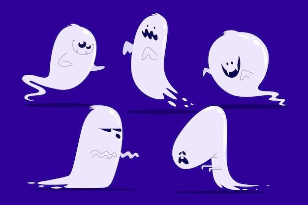 Halloweenowa kolekcja duchów ręcznie rysowane styl