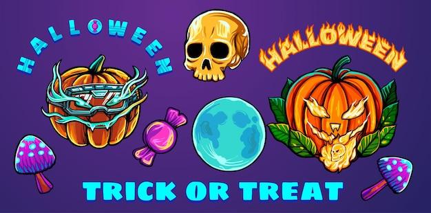 Halloweenowa kolekcja wektorów i ilustracji idealnych na gadżety