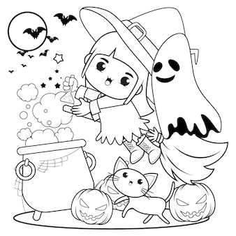 Halloweenowa kolorowanka śliczna mała dziewczynka czarownica10