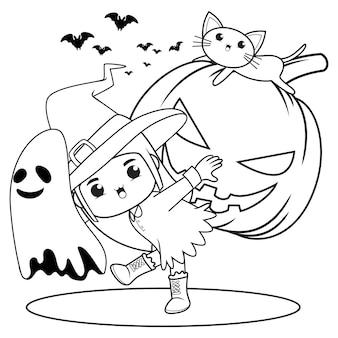 Halloweenowa kolorowanka śliczna mała dziewczynka czarownica12
