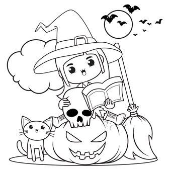 Halloweenowa kolorowanka śliczna mała dziewczynka czarownica24