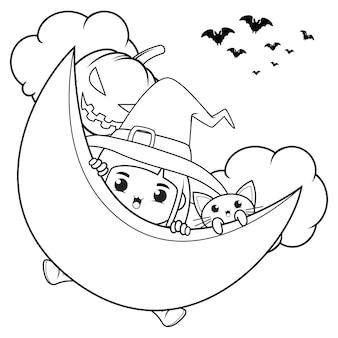 Halloweenowa kolorowanka śliczna mała dziewczynka czarownica26