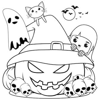 Halloweenowa kolorowanka śliczna mała dziewczynka czarownica29