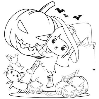 Halloweenowa kolorowanka śliczna mała dziewczynka czarownica5