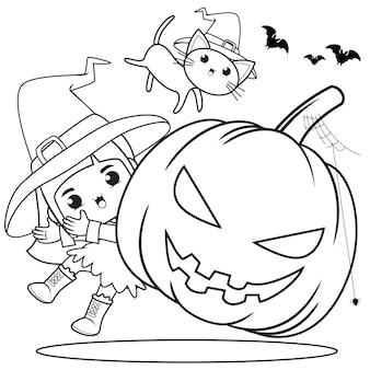 Halloweenowa kolorowanka śliczna mała dziewczynka czarownica6
