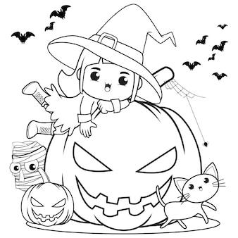 Halloweenowa kolorowanka śliczna mała dziewczynka czarownica8