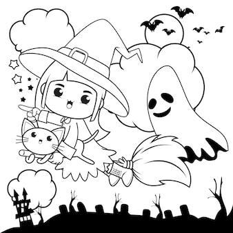 Halloweenowa kolorowanka śliczna mała dziewczynka wiedźma16