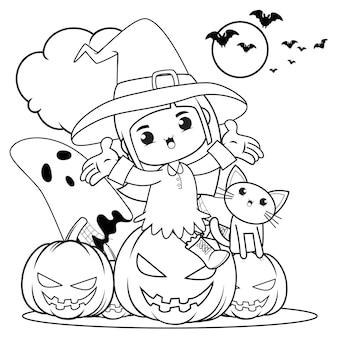 Halloweenowa kolorowanka śliczna mała dziewczynka wiedźma18