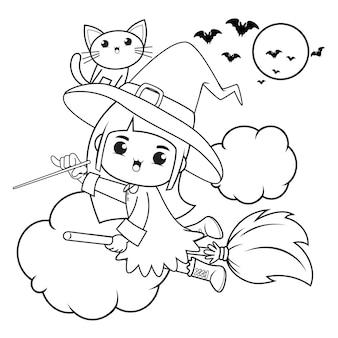 Halloweenowa kolorowanka śliczna mała dziewczynka wiedźma20