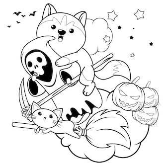 Halloweenowa kolorowanka z uroczym husky11