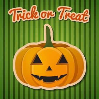 """Halloweenowa kompozycja z nagłówkiem """"cukierek albo psikus"""" i uroczą uśmiechniętą dynią."""