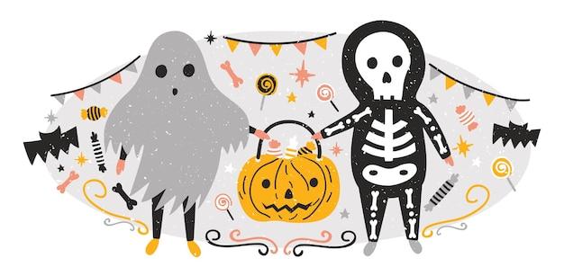 Halloweenowa kompozycja ze śmiesznym upiornym duchem i szkieletem trzymającym jack-o'-lantern pełną cukierków. scena z przerażającymi postaciami z bajek. cukierek albo psikus. ilustracja wektorowa kreskówka płaski wakacje.