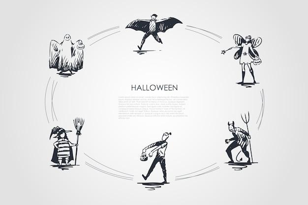 Halloweenowa koncepcja zestaw ilustracji
