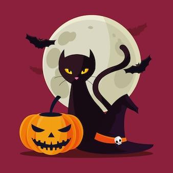 Halloweenowa kot i dyniowa kreskówka