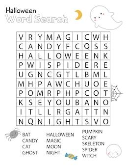 Halloweenowa krzyżówka wyszukiwania słowa dla dzieci. arkusz ćwiczeń edukacyjnych.