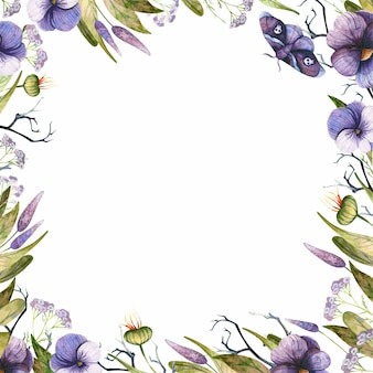 Halloweenowa kwadratowa ramka z akwarela gotyckim motylem i fioletowymi jesiennymi kwiatami