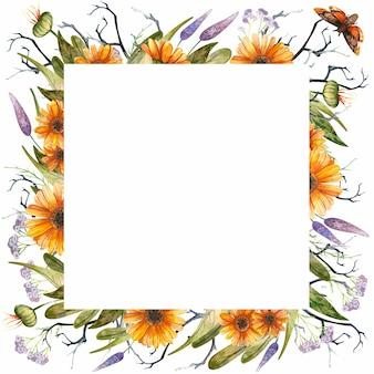 Halloweenowa kwadratowa ramka z akwarela gotyckim motylem i pomarańczowymi jesiennymi kwiatami