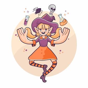 Halloweenowa magik czarownica unosi się pająka, czaszki i mikstur śliczną ilustrację
