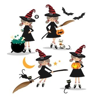 Halloweenowa Mała Czarownic Kolekcja. Premium Wektorów