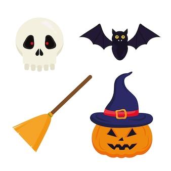 Halloweenowa miotła dyniowa nietoperza i czaszki, motyw halloween.
