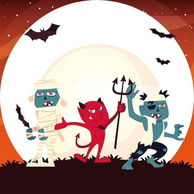 Halloweenowa mumia diabeł i kreskówka zombie w nocy projekt, ilustracja wakacje i straszny motyw