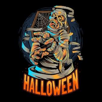 Halloweenowa mumia egipska wychodzi z trumny