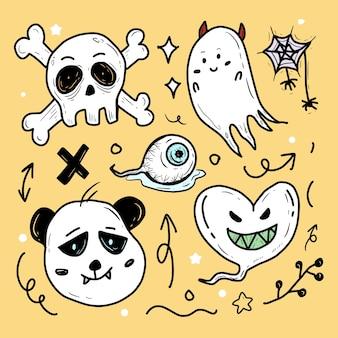 Halloweenowa naklejka z czaszką i duchem