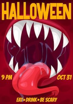 Halloweenowa noc horroru plakat wrzeszczącego potwora z ustami wampira