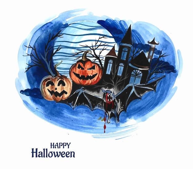 Halloweenowa noc w tle dynie i ciemny zamek