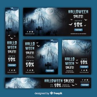 Halloweenowa paczka banner sprzedaży internetowej