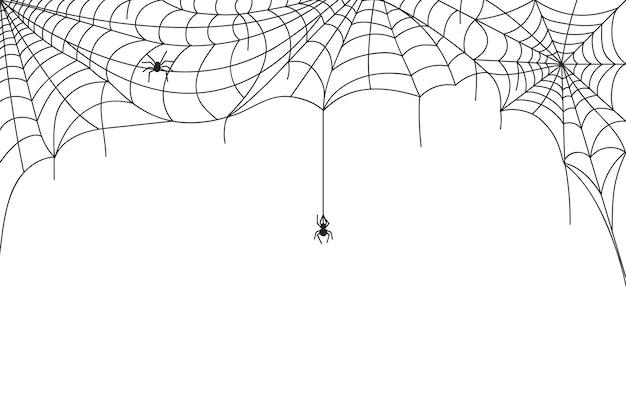 Halloweenowa pajęczyna granica, upiorne pajęczyny z wiszącymi pająkami. straszne wstęgi ozdoba rama, pajęczyna sylwetka wektor tle. trujące stworzenie grozy lub owad na wakacje