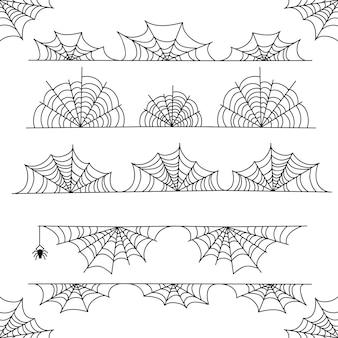 Halloweenowa pajęczyna wektoru ramy granica i dividers z pająk siecią