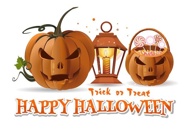 Halloweenowa papierowa sztuka z halloweenowym koszem ze słodyczami, dyni, płonącą świeczką, lampą i napisem - wesołego halloween. cukierek albo psikus. ilustracja wektorowa na białym tle