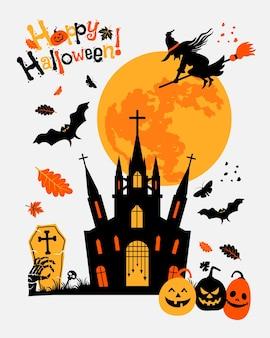 Halloweenowa pełnia księżyca transparent czarownica dynie i nietoperze wektor płaska ilustracja