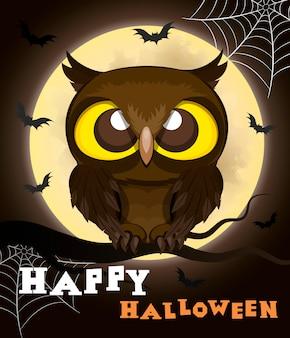 Halloweenowa plakatowa sowa