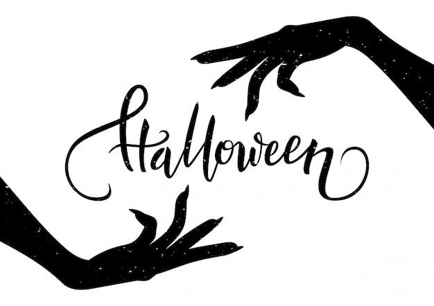 Halloweenowa pocztówka z przerażającymi rękami i kaligrafia tekstem, wektorowa ilustracja