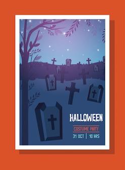 Halloweenowa pocztówka z sceną ciemnego cmentarza