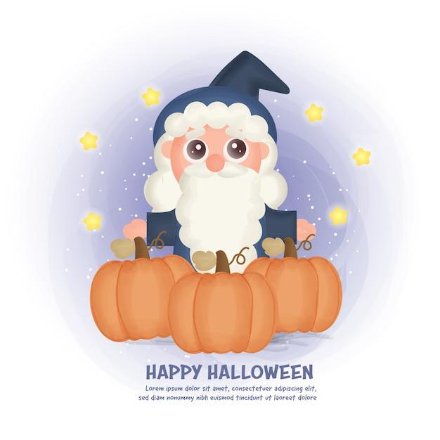 Halloweenowa pocztówka z uroczą czarownicą i dyniami.