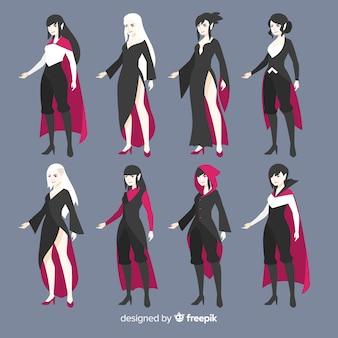 Halloweenowa postać kobiecego wampira w różnych pozycjach