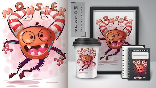 Halloweenowa potwór ilustracja i merchandising