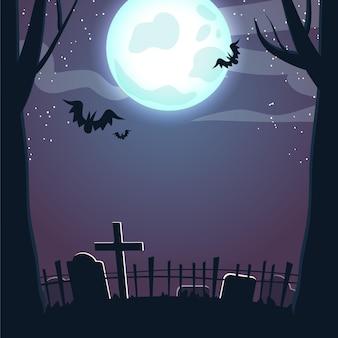 Halloweenowa ramka w nocy