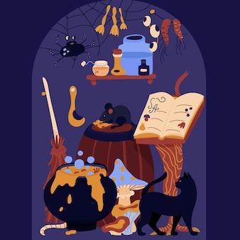 Halloweenowa ręcznie rysowana karta wnętrze pokoju z księgą kociołka zaklęć pająk kot i mysz