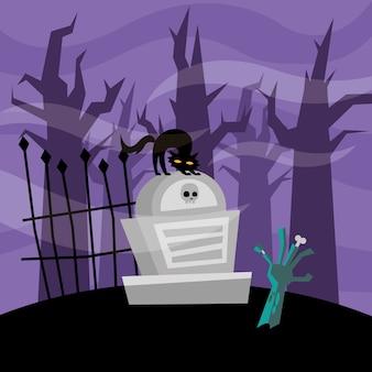Halloweenowa ręka zombie i kot na grobie, przerażający motyw
