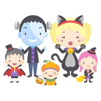 Halloweenowa rodzinna ilustracja