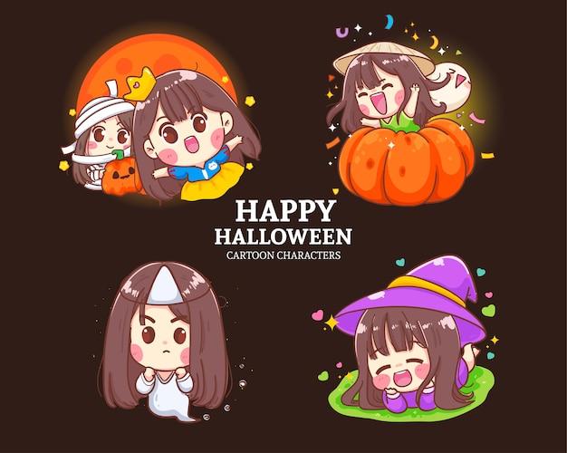 Halloweenowa śliczna dziewczyna postać kolekcja kreskówka zestaw ilustracji
