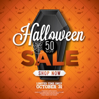 Halloweenowa sprzedaż wektoru ilustracja
