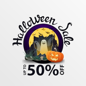 Halloweenowa sprzedaż z dyniowym jack
