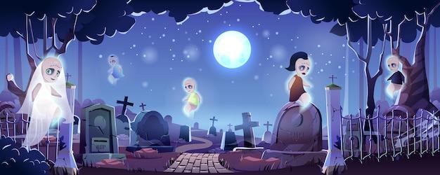Halloweenowa strona docelowa cmentarza nocny cmentarz z latającymi duchami ogromny księżyc przerażające nagrobki