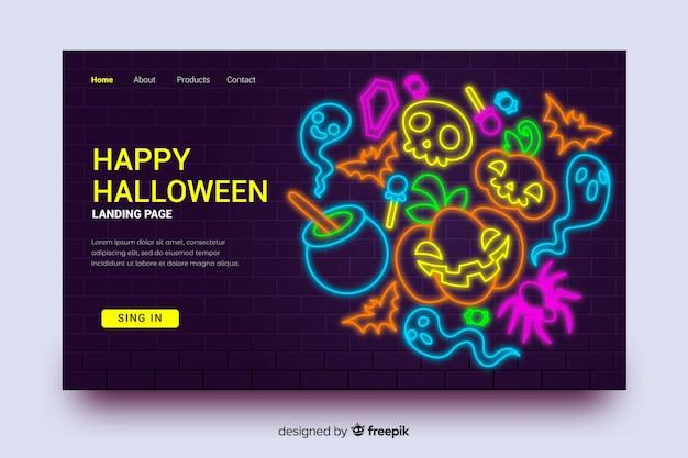 Halloweenowa strona docelowa i neonowa dynia