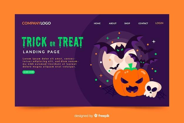 Halloweenowa strona docelowa w płaskiej konstrukcji
